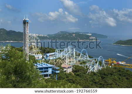 Hong Kong china travel asia business tourism landscape modern chinese sky harbor architecture cityscape vacation cable ocean natural water garden entertainment - stock photo