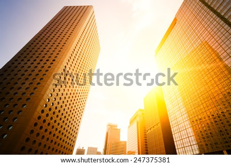 Hong Kong, China. Views of the skyscrapers below. Sunset.