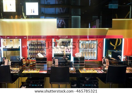 HONG KONG - CIRCA JANUARY, 2016:  Yves Saint Laurent store at Elements shopping mall in Hong Kong. Yves Saint Laurent YSL is a French luxury fashion house