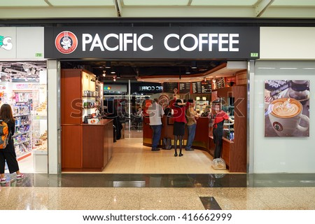 HONG KONG - CIRCA JUNE, 2015: Pacific Coffee cafe in Hong Kong International Airport. Pacific Coffee Company is a Pacific Northwest U.S.- style coffee shop group originating from Hong Kong.