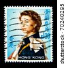 HONG KONG - CIRCA 1962: stamp printed by Hong Kong, shows Queen Elizabeth II, circa 1962 - stock photo