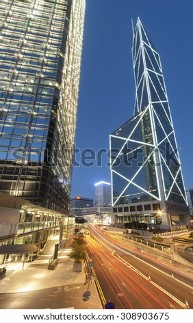 Hong Kong City at dusk - stock photo
