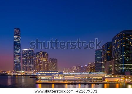 Hong Kong City at dusk - stock photo