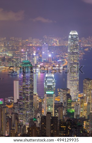 Hong Kong city at night, view from The Peak