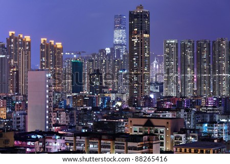 Hong Kong city downtown at night