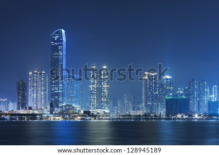 Hong Kong City Night - stock photo