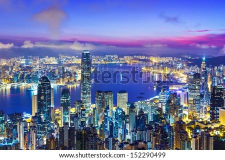 Hong Kong city skyline during sunrise - stock photo