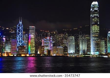 Hong Kong City Skyline from Kowloon - stock photo