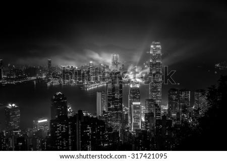 Hong Kong cityscape black and white tone - stock photo