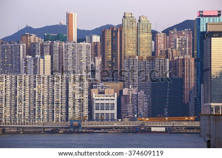 Hong Kong cityscape , crowded building - stock photo