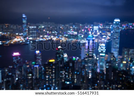 Hong Kong cityscape defocused background in twilight evening from viewpoint