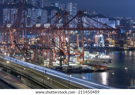 Hong Kong Container Port - stock photo