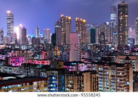 Hong Kong crowded urban - stock photo