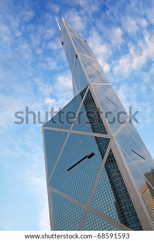 "HONG KONG - DECEMBER 05: Bank of China building facade on December 05, 2010 in Hong Kong. 367 meter ""BOC"" is 3rd tallest building of Hong Kong and 12th tallest in the world. - stock photo"