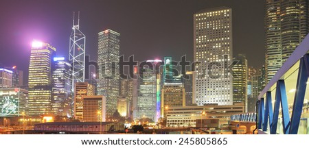 HONG KONG - DECEMBER 12, 2014: Hong Kong Special Administrative Region.  Night city lights up with millions of lights