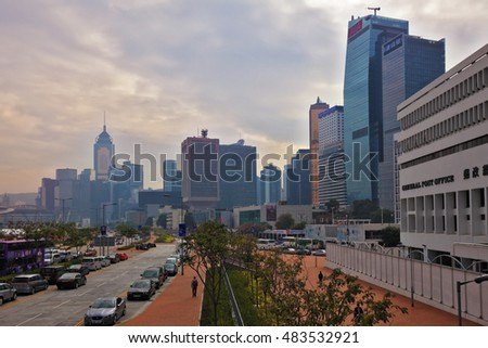 HONG KONG, DECEMBER 11, 2014: Hong Kong Special Administrative Region. Panorama of  modern city on the ocean coast. Skyscrapers and wide avenues