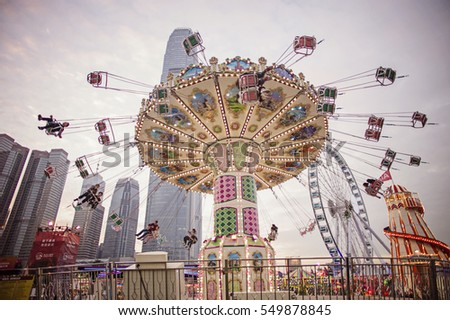 HONG KONG - 29 DECEMBER 2016: The Great European carnival in Central Harbourfront during holiday season.