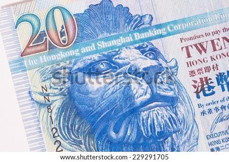 Hong Kong 20 dollar paper bank note macro studio shot - stock photo