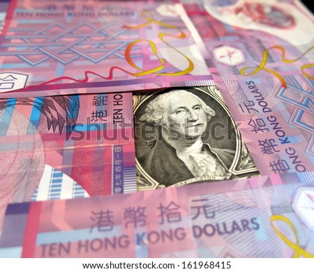 Hong Kong dollar's peg to US dollar - stock photo