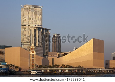 HONG KONG - FEB. 5, 2011: A Sunset View of Tsin Sha Tsui in Hong Kong which is one of the most densely populated areas in the world and the third most important leading international financial center. - stock photo