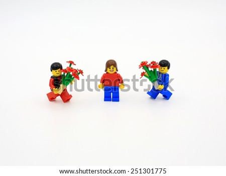 HONG KONG, FEB 14:  lego mini characters from different genration which are isolated on white in hong kong on 14 february 2014. Lego minifigure are the successful line in Lego products - stock photo