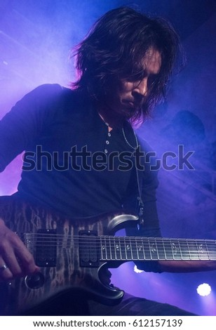 HONG KONG - February 15, 2017: American metal band Periphery show, Guitarist Mark Holcomb performed on stage