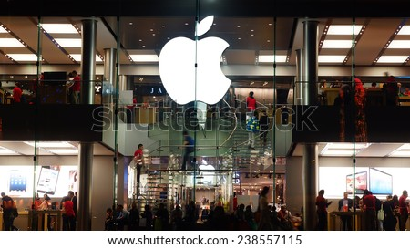 HONG KONG - FEBRUARY 15, 2013: Apple Store. Apple Store opened its long-awaited first store in Hong Kong. Apple store is located at the International Finance Center.  - stock photo