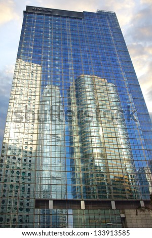 HONG KONG-FEBRUARY 14:Chater House.Chater House is an office tower opened in 2003.Its main tenant is JPMorgan,who have their Asia Pacific headquarters in the building on Febuary 14,2013 in Hong Kong - stock photo