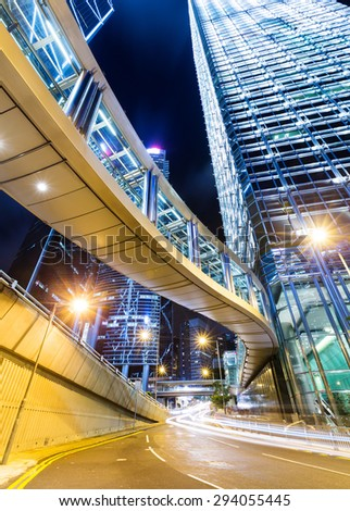 Hong Kong financial district with busy traffic at night
