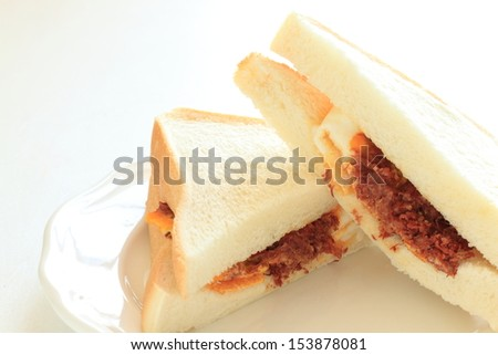 Hong Kong food, corned beef and egg fried sandwich