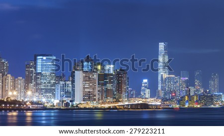 Hong Kong Harbor at night  - stock photo