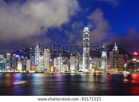 Hong Kong harbor view at night - stock photo