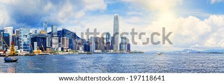 Hong Kong harbour , Wan Chai Waterfront Promenade  - stock photo