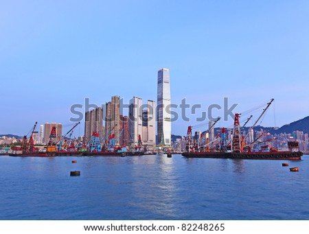 Hong Kong harbour with working ship