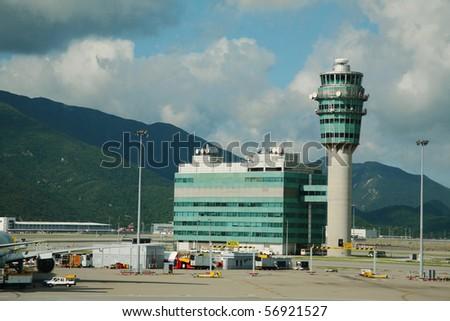 Hong Kong International Airport tower, Hong Kong. - stock photo
