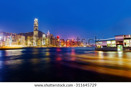 Hong Kong Island from Kowloon. - stock photo
