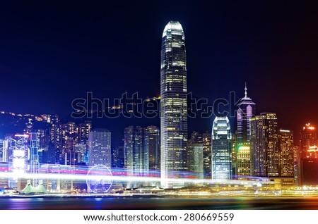 Hong Kong Island from Kowloon city at night - stock photo