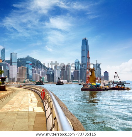 Hong Kong Island, Victoria Harbour. - stock photo