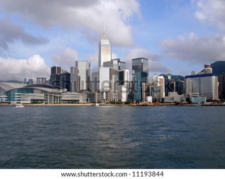 Hong Kong island viewed from water. - stock photo