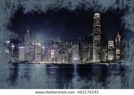 Hong Kong Island with skyscrapers illuminated by night, viewed from Kowloon, Hong Kong, China. Vintage painting, background illustration, beautiful picture, travel texture