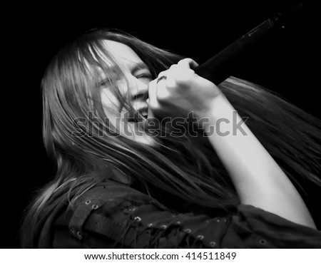 HONG KONG - Jan 14, 2016 Arkona show, a Russian pagan metal band, Vocalist Maria Arkhipova performed on stage - stock photo