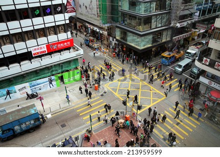 HONG KONG - JANUARY 4: Aerial view of a busy crossing in Kowloon distric of Hong-Kong, China on January 4, 2012.  - stock photo
