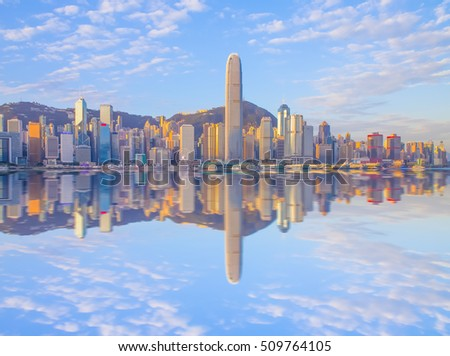 Hong Kong - January 25,2016 - Morning scene of Hong Kong skyline showing reflection of the building on water, Hong Kong Skyline reflection