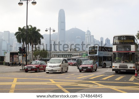 HONG KONG - JANUARY 14,2016: Traffic congestion in Hong Kong. With a land mass of 1,104 km and a population of 7 million people, Hong Kong is one of the most populated areas in the world - stock photo
