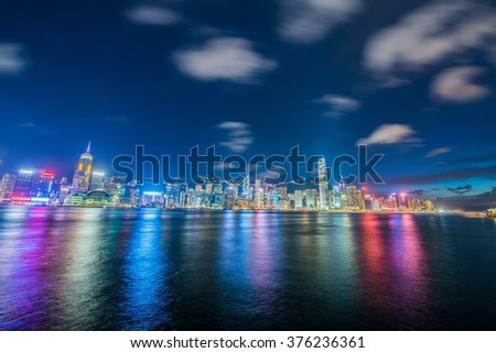 Hong Kong - JULY 27, 2014: Hong Kong skyline on July 27 in China, Hong Kong. Hong Kong skyline is one of the famous in the world - stock photo