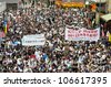 HONG KONG - JULY 1: 0.4 million of Hongkongers join the Anti-Government march on July 1, 2012 in Hong Kong. - stock photo