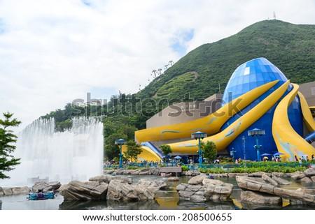 HONG KONG - JUN 14, 2014: Hong Kong Ocean Park Grand Aquarium. Ocean Park is situated in Wong Chuk Hang and Nam Long Shan in the Southern District of Hong Kong, China. - stock photo