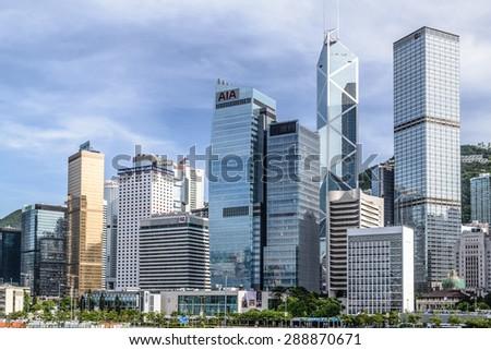 Hong Kong - JUNE 7, 2015: Hong Kong skyline on June 7 in China, Hong Kong. Hong Kong skyline is one of the famous in the world. - stock photo