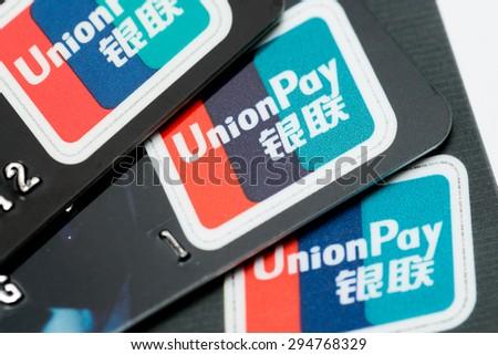 HONG KONG - JUNE 26, 2015: Union Pay Card Sign Close Up - stock photo
