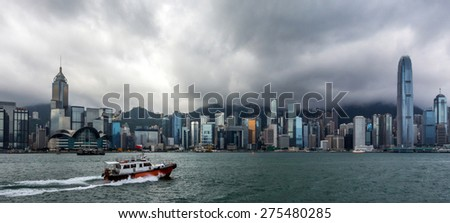 HONG KONG - JUNE 03, 2014: View of Victoria harbor just before a tropical cyclone During summer, typhoons regularly skirt the city, causing varying degrees of damage. - stock photo
